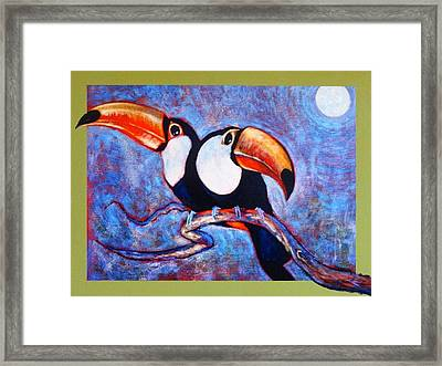 Moon Light Toucans Two Framed Print