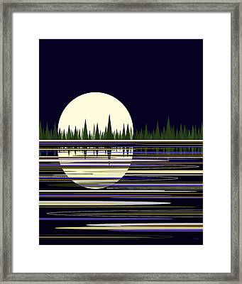 Framed Print featuring the digital art Moon Lit Water by Val Arie