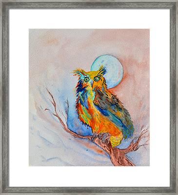 Moon Magic Owl Framed Print by Beverley Harper Tinsley
