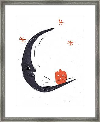 Moon Man And Jack-o-lantern Framed Print by Coralette Damme