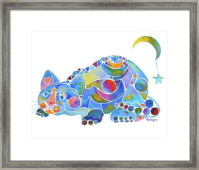 Moon N Stars Kitty Framed Print by Jo Lynch