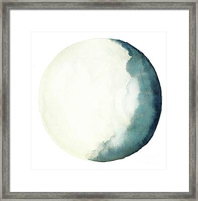 Moon Navy Blue Turquoise Yellow Crescent, Bedroom Watercolor Art Print  Framed Print