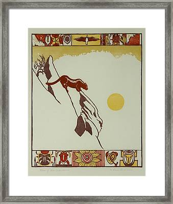 Framed Print featuring the drawing Moon Of Red Chokecherries by Dawn Senior-Trask