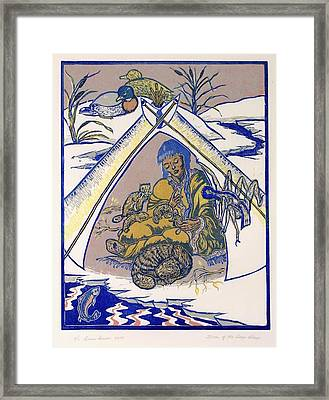 Framed Print featuring the drawing Moon Of The Deep Sleep by Dawn Senior-Trask