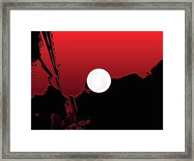 Moon On Abstract World Framed Print by Bruce Iorio