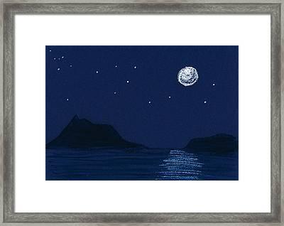 Moon On The Ocean Framed Print by Hakon Soreide