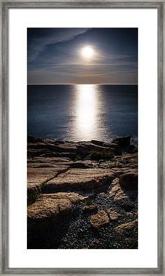 Moon Over Acadia Shores Framed Print