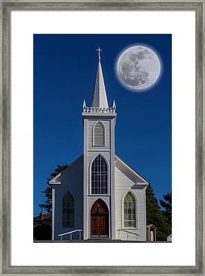 Moon Over Bodega Church Framed Print by Garry Gay