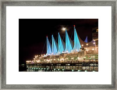 Moon Over Canada Place In Vancouver Framed Print