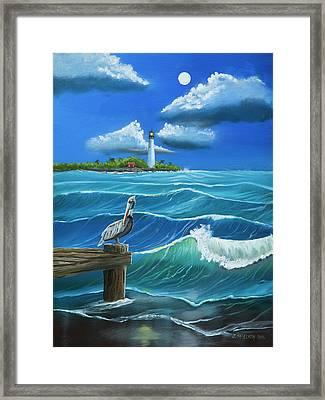 Moon Over Cape Florida Lighthouse Framed Print
