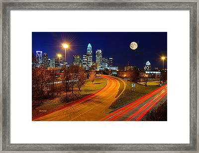 Moon Over Charlotte Framed Print
