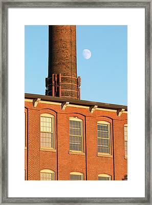 Moon Over Cocheco Mills Framed Print