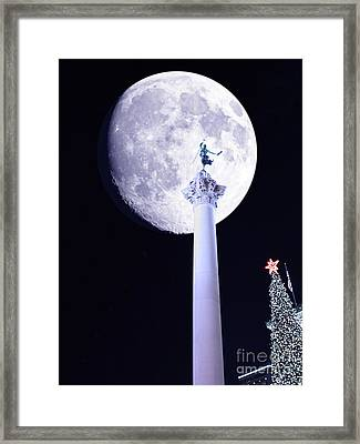 Moon Over Dewey Framed Print by Wingsdomain Art and Photography