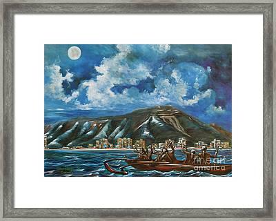 Moon Over Diamond Head Framed Print