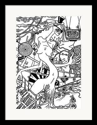 Scissors Drawings Framed Prints