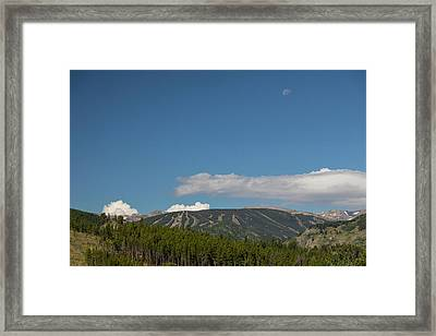 Framed Print featuring the photograph Moon Over Eldora Summer Season Ski Slopes by James BO Insogna