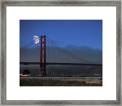 Moon Over Foggy Golden Gate Bridge Framed Print