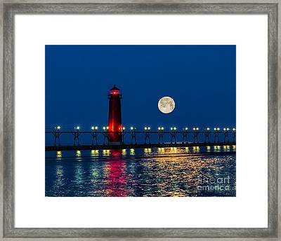 Moon Over Grand Haven Framed Print