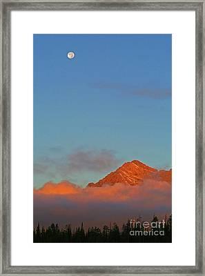 Moon Over Grand Tetons Framed Print by Brent Parks