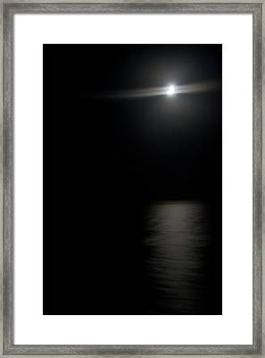 Moon Over Gulf Of Mexico Framed Print by Gwen Vann-Horn