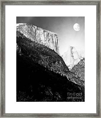 Moon Over Half Dome . Black And White Framed Print by Wingsdomain Art and Photography