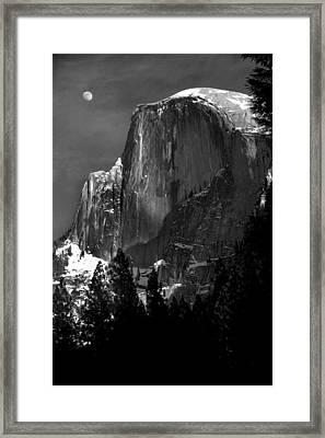 Moon Over Half Dome Framed Print