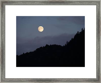 Framed Print featuring the photograph Moon Over Hill by Menega Sabidussi