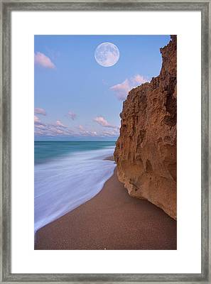 Moon Over Hutchinson Island Beach Framed Print