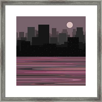Moon Over Manhattan - A Different View Framed Print
