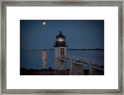Framed Print featuring the photograph Moon Over Marshall Point by Rick Berk
