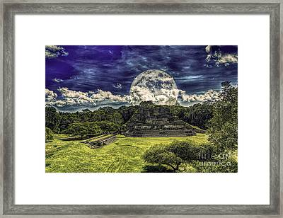 Moon Over Mayan Temple Two Framed Print