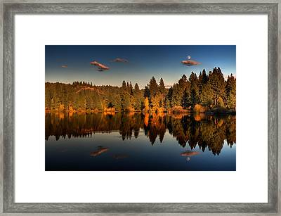 Moon Over Mill Pond Framed Print by Mick Burkey
