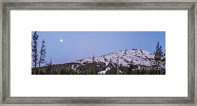 Moon Over Mount Bachelor Framed Print by Twenty Two North Photography