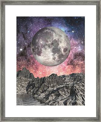 Framed Print featuring the digital art Moon Over Mountain Lake by Phil Perkins