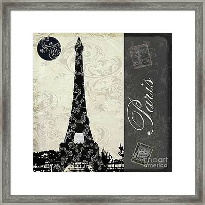 Moon Over Paris Postcard Framed Print by Mindy Sommers