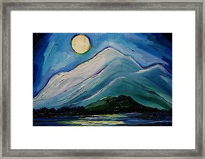 Moon Over Pioneer Peak Framed Print