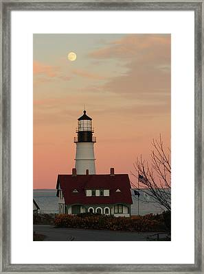 Moon Over Portland Head Lighthouse Framed Print by Lou Ford