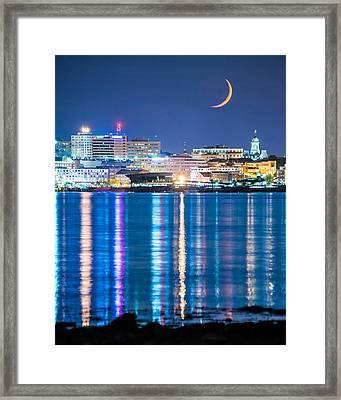 Moon Over Portland Framed Print by Tim Sullivan