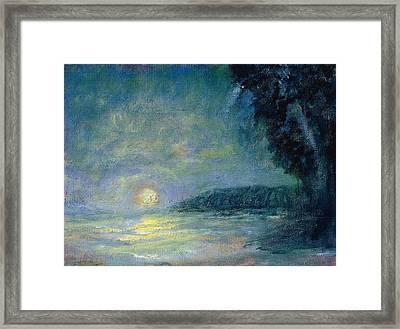 Moon Over Pt Dume Framed Print