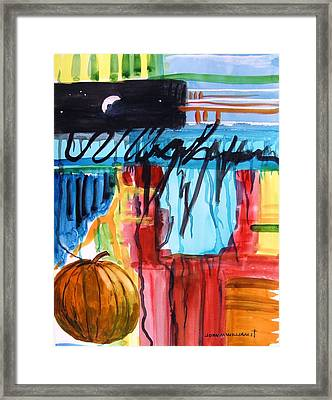 Moon Over Pumpkin Framed Print by John Williams