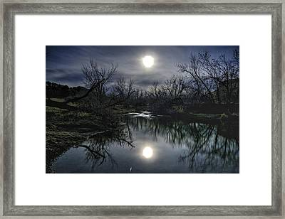 Moon Over Sand Creek Framed Print
