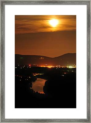 Framed Print featuring the photograph Moon Over Shenandoah by Lara Ellis