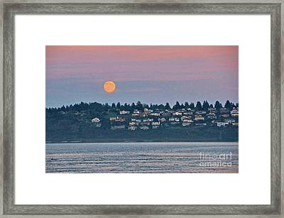 Moon Over Steilacoom Framed Print