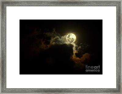 Moon Over Sunset Clouds By Kaye Menner Framed Print by Kaye Menner