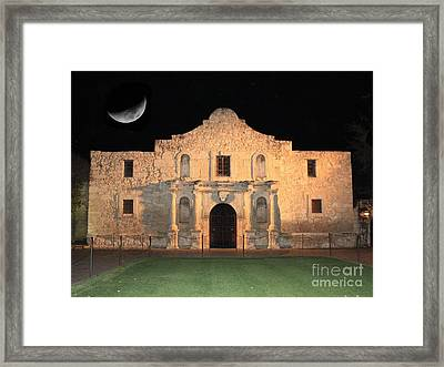 Moon Over The Alamo Framed Print