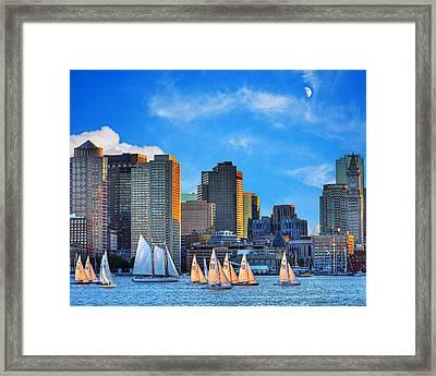 Moon Over The Boston Skyline Framed Print