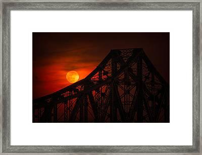 Moon Over The Bridge Framed Print