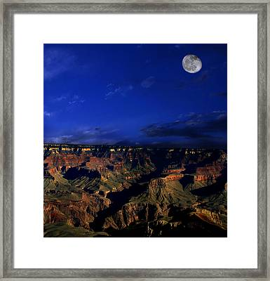 Moon Over The Canyon Framed Print