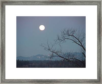 Moon Over The Olympics Framed Print by Gregory Smith
