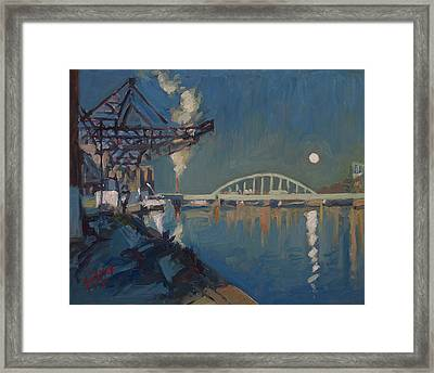 Moon Over The Railway Bridge Maastricht Framed Print